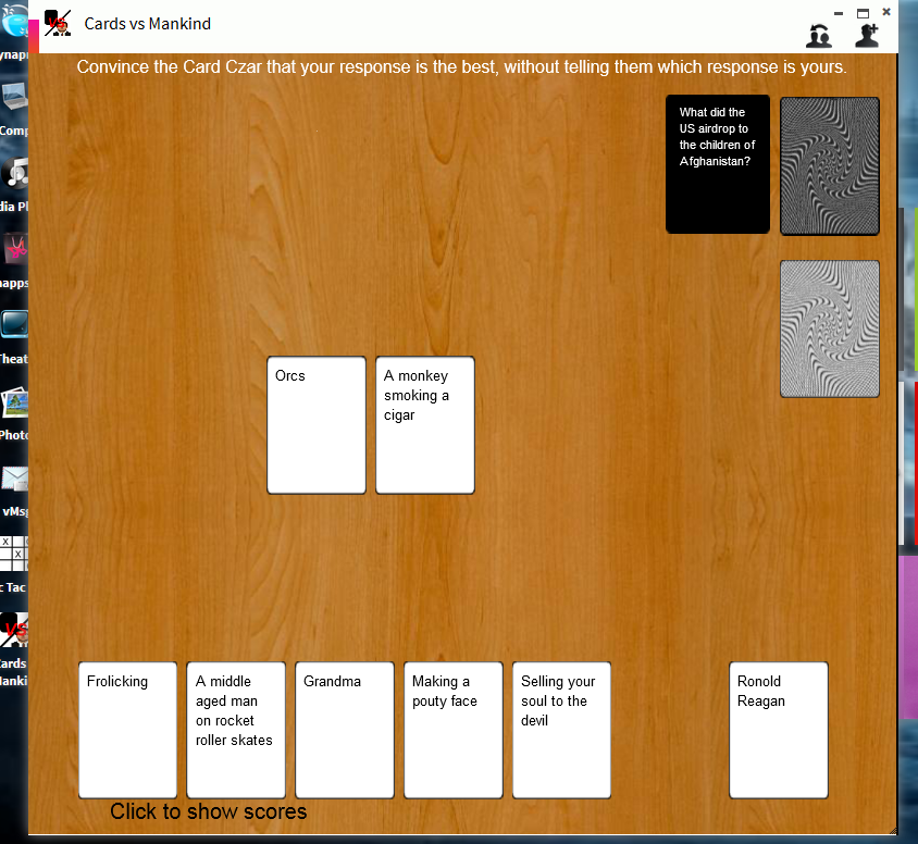 Play Cards vs Mankind on Synaptop in real time with friends!