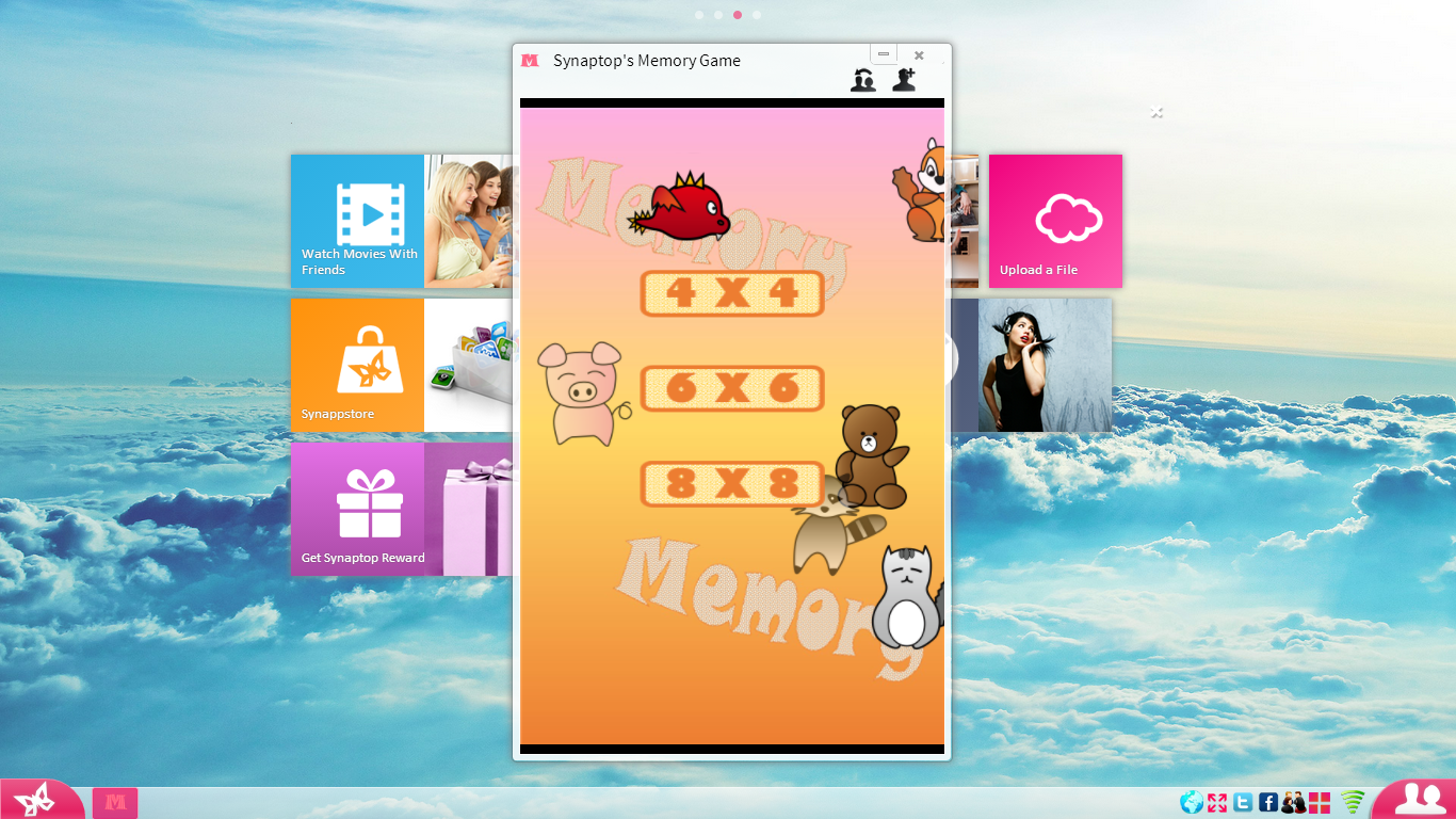 Challenge your friends in a memory game on Synaptop!